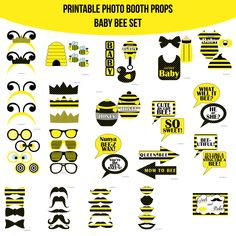 Bumble bee baby shower photo booth party props set 17 piece instant download baby bee mom to bee what will it bee printable photo booth prop set solutioingenieria Images