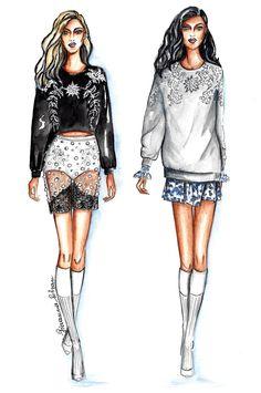 Fashion illustration, illustration, fashion sketch, sketch, fashion draw, draw, watercolor pencil draw