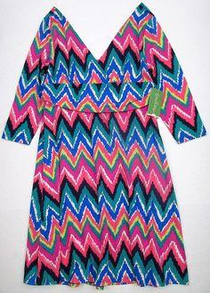 LILLY PULITZER Medium MIRIAM Hearts A Flutter Chevron Stripe V Neck Dress NWT M #LillyPulitzer #Sheath #SummerBeach