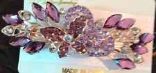 Barrette Hair Pin Clip Rhinestone Purple Colored Butterfly Ships From Usa