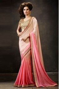 Georgette Party Wear Designer Saree In Cream and Pink Colour