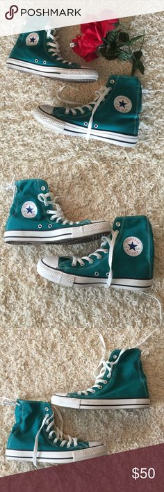 Converse All Star LIKE NEW! Worn 2 times by my daughter before she got bored with them! Honestly look NEW! Minor wear that could be wiped off easily! Green in color! The IN SHOE! says MENS 7 but unisex and fits like a 9 women! Converse Shoes