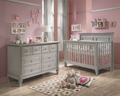 baby cribs and furniture | ... Belmont 2 Piece Nursery Set in Stone Grey - Crib and Double Dresser