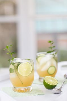 Mint, cucumber, and lime crushes