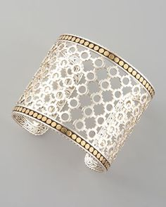 John Hardy Wide Dot Cuff - sterling silver openwork with 18K yellow gold dot frames
