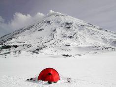 Camp at the base of Klyuchevskaya Sopka, Kamchatka