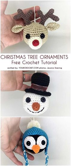Crochet crafts 457537643393528809 - Christmas Tree Ornaments Free Crochet Patterns Source by Crochet Christmas Decorations, Crochet Decoration, Crochet Christmas Ornaments, Christmas Knitting, Christmas Baubles, Free Christmas Crochet Patterns, Crochet Free Patterns, Crochet Ornament Patterns, Crochet Snowman