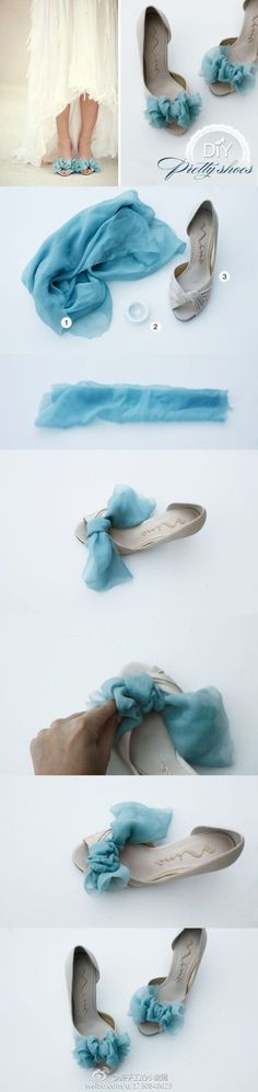 Chiffon bows for peep toe shoes.