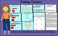 Finding Factors Interactive Smartboard Lessons and Printables Gr 3 Numbers Kindergarten, Teaching Kindergarten, Finding Factors, Smart Board Lessons, Creative Teaching, Teaching Ideas, Math About Me, Teaching Technology, Teacher Notebook
