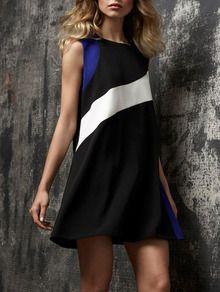 Black Sleeveless Color Block Dress