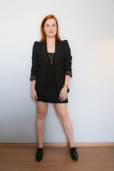 #look #allblack blazer Zara, oxford Forever 21 + #ootd no blog