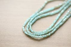Electroplate Glass Beads - 80 pcs Light Sea Green Half Plated Faceted Glass Crystal Rondelle Beads Loose Beads - 3x2mm
