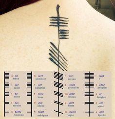 Tatouage celte : Toutes les lettres sont associées à un arbre sacré ou utile pour les druides. Exemple : la lettre Luis est associé au Sorbier.