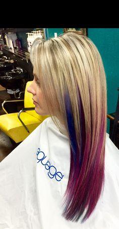 Pink and blue Balayage