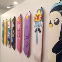 Adventure Time skateboard decks Mondo Gallery in Austin Skateboard Furniture, Painted Skateboard, Skateboard Deck Art, Penny Skateboard, Skateboard Pictures, Skateboard Design, Skateboard Girl, Skateboard Wheels, Skate Decks