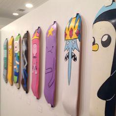 Adventure Time skateboard decks Mondo Gallery in Austin Skateboard Furniture, Painted Skateboard, Skateboard Deck Art, Penny Skateboard, Skateboard Pictures, Skateboard Design, Skateboard Girl, Skateboard Wheels, Custom Skateboards