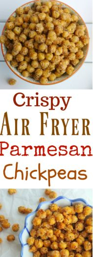 #snack #appetizer #yummy #crispy #crunchy Crunchy on the outside and creamy on the inside, these Crispy Air Fryer Parmesan Chickpeas are the perfect snack on their own, or toss them on top of salads or into a snack mix. Making chickpeas in the air fryer is a quick and easy way to achieve the perfect crispness. Air Fryer Oven Recipes, Air Frier Recipes, Air Fryer Recipes Dessert, Air Fryer Recipes Appetizers, Air Fryer Recipes Vegetables, Air Fried Food, Healthy Snacks, Healthy Recipes, Chickpea Recipes