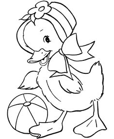 Easter Chicks Coloring page | Easter hat chick