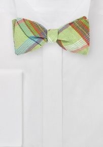 Modern Self Tie Bow Tie in Limes
