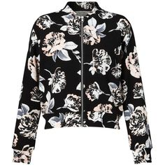 Miss Selfridge Black Floral Bomber Jacket (470 NOK) ❤ liked on Polyvore featuring outerwear, jackets, black, flower print jacket, miss selfridge, floral bomber jacket, bomber jacket and bomber style jacket