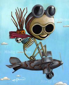 skeleton airplane art