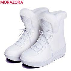 MORAZORA 2017 새로운 러시아 겨울 스노우 부츠 두꺼운 모피 내부 플랫폼 신발 여성 웨지 힐 여성 발목 부츠 여성 신발