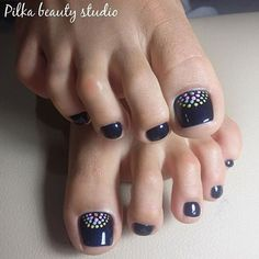 Navy pedicure with colorful dots