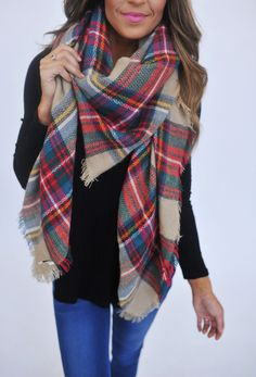 Plaid Blanket Scarf-Beige/Red - Dottie Couture Boutique