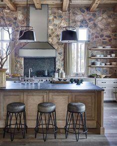 home interior design business Kitchen Wood Design, Interior Design Kitchen, Kitchen Stone Wall, Stone Kitchen Island, Modern Farmhouse Kitchens, Rustic Kitchen, Farmhouse Bench, Kitchen Decor, Interior Art Nouveau