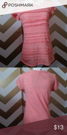 Lauren Conrad tee with ruffles and sheer P3 In great condition peach colored lauren Conrad Tops