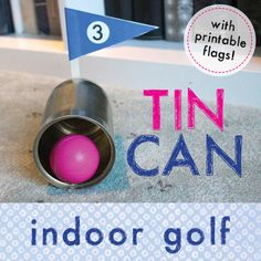 Indoor put-put golf with obstacles and DIY club from recycled materials.