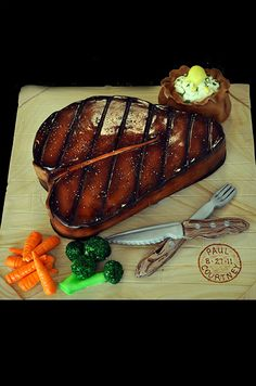 Customized steak seemingly glazed with barbeque sauce boasts a rustic, southern charm for this groom's cake. Wedding Cake Designs, Wedding Cakes, Haunted House Cake, Fondant, Realistic Cakes, Barbeque Sauce, Cakes For Men, Small Cake, Cake Boss