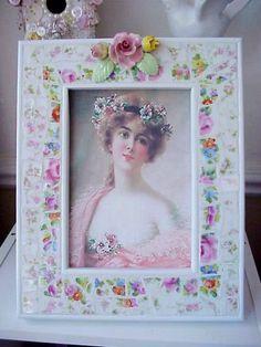 Broken china mosaics large photo frame with vintage porcelain roses (sold)