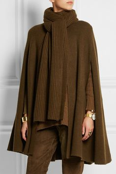 MICHAEL KORS COLLECTION Ribbed merino wool and cashmere-blend cape
