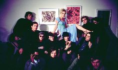 The Factory: Factory workers, including (top row, in front of the Jackson Pollocks) Paul Morrissey, Edie Sedgwick and Gerard Malanga, and (middle row), Danny Williams, Andy Warhol, Lou Reed, Sterling Morrison and John Cale, December 1965. Photograph: Nat Finkelstein.