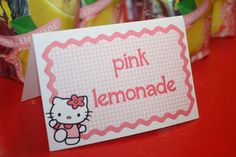Custom Personalized Hello Kitty Pink Gingham Place Cards folded Tent Cards food dessert labels