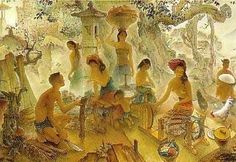 Balinese Life Painter: Lee Man Fong Lee Man Fong (November 1913 - April was a painter born in Guangzhou, China. Composition Painting, Indonesian Art, Balinese, Southeast Asia, Indie, Colours, Photography, Life, Paintings