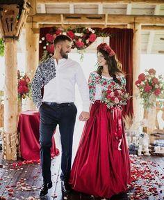 Wedding traditions in Ukraine Romanian Wedding, Bridal Dresses, Bridesmaid Dresses, Ukrainian Dress, Mexican Fashion, Mexican Dresses, Traditional Wedding Dresses, Look Fashion, The Dress