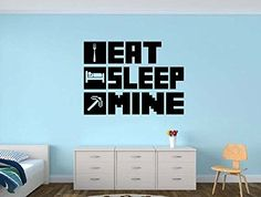 EAT SLEEP MINE Gamer Room Vinyl Wall Decal Sticker * Be sure to check out this awesome product.