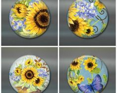 "sunflower magnet set - sunflower fridge magnet - sunflower decor, housewarming gift for her - 3.5"" fridge magnet"