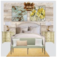 Spring Fever; Bedroom ideas, gold brass lotus chandelier, wood paneling, light grey satin fabric eadboard, light gold wood night stand, gold and blue watercolor flower art paintings, light green bedroom bench, peach rug