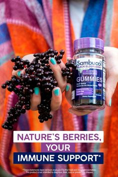 Berry simple, berry powerful immune support!* The powerful antioxidants in black elderberries may help support your immune system and keep it working at its best Take Sambucol Black Elderberry for everyday immune support* *These statements have not been evaluated by the Food and Drug Administration. These products are not intended to diagnose, treat, cure or prevent any disease. Elderberry Supplement, Sambucol Black Elderberry, Elderberry Gummies, Juice Bottles, How To Stay Healthy, Natural Health, Drugs, Herbalism, The Cure
