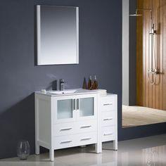 "Fresca Torino 42"" White Modern Bathroom Vanity w/ Side Cabinet & Integrated Sink"