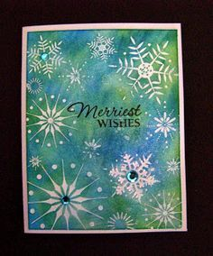 Hero Arts Stamp & Cut Snowflakes cards | ... Crafts: Hero Arts Stunning Snowflakes background stamped cards