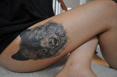 quality, tattoo, thigh, thigh tattoo, tumblr, wolf, wolf tattoo