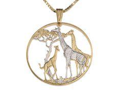 Giraffe Pendant & Necklace Zambia Coin Hand Cut by Coinjewelry Giraffe Jewelry, Giraffe Necklace, Animal Jewelry, Giraffe Art, Cute Giraffe, Fun Facts About Giraffes, Giraffe Clothes, Giraffe Pictures, Giraffes