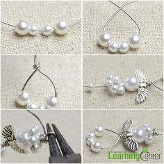 How to Make Angel EarringsFree Diy Jewelry Projects Learn how to make guardian angel earrings with white pearls and silvery wires. The tutorial shows you a quick and creative way to finish off the cute beaded angel earrings. Wire Wrapped Jewelry, Wire Jewelry, Beaded Jewelry, Silver Jewelry, Silver Ring, Jewellery Box, Tanishq Jewellery, Gucci Jewelry, Paper Jewelry