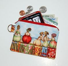 FRUIT LADIES - Small Zipper Pouch / Cell Phone Gadget Holder
