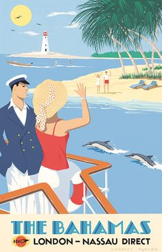 PEL327: 'The Bahamas - B.O.A.C' by Charles Avalon - Vintage travel posters - Art Deco - Pullman Editions