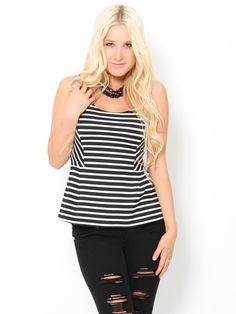 #stylesforless   Striped #Peplum Top